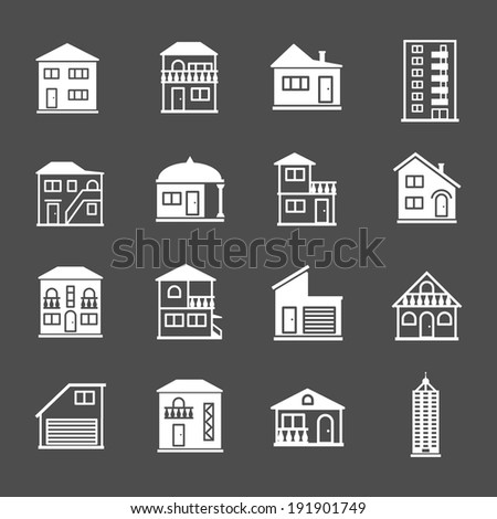 Set of house icons. Real estate and building collection isolated on grey. Vector illustration - stock vector