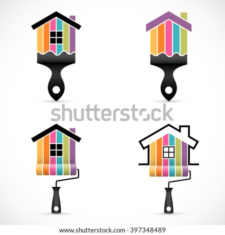 Set of house renovation icons. Painting services icons. - stock vector