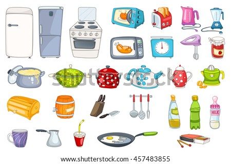 Set of household appliances and kitchenware. Set of refrigerator, dishware, pan, saucepan, utensil, microwave, toaster, kitchen scales and other. Vector illustration isolated on white background.