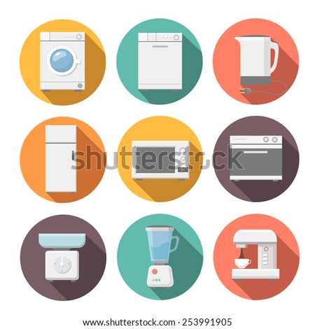 Set of household appliances flat icons on colorful round web buttons with a washing machine. Microwave, coffee machine. fridge,  stove. juicer. scales - stock vector