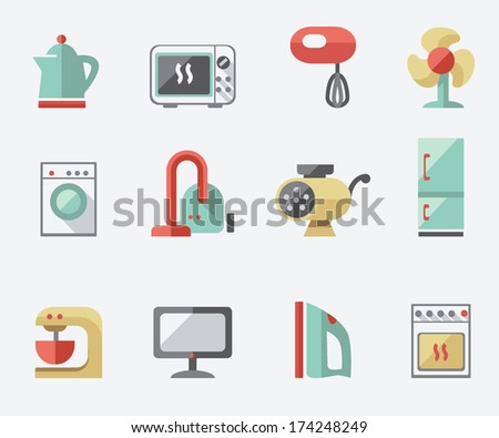 Set of household appliances icons - stock vector