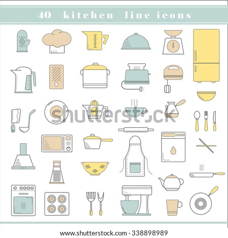 Restaurant Kitchenware kitchenware dishware kitchen icons stock vector 2457376 - shutterstock