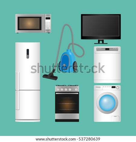 Set of household appliances. Microwave oven, refrigerator, vacuum cleaner with brush, gas cooker, dishwasher and washing machine, TV set isolated on blue. Modern kitchen devices. Vector illustration