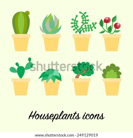 Set of houseplants icons of different plant like cactus, blossoms and small tree in yellow pots on light background