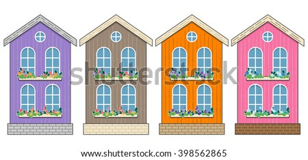 Set of Houses. Cartoon home facades. Purple, Brown, Orange and Pink Cottages isolated on white. Flowers on windows, wood wall, old style. Town street. - stock vector