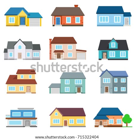 Set Houses Front View Collection Icons Stock Vector 715322404