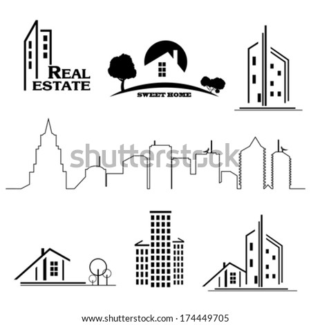 Set of houses icons for real estate business on white background. - stock vector