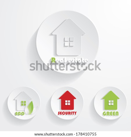 Set of houses icons for real estate business. With natural green elements - stock vector
