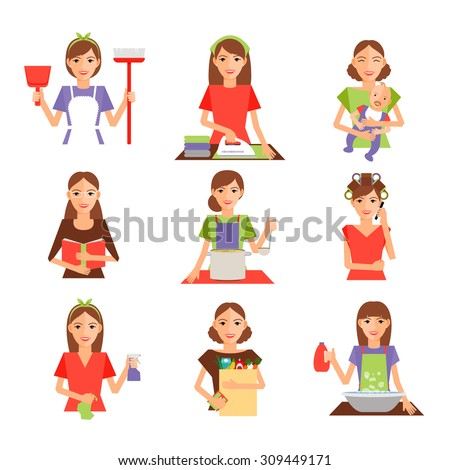 Set of housewife icon in flat style. Homemaker cleaning ironing cook wash and shopping. Vector illustration - stock vector