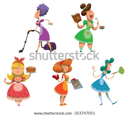 Set of housewives. somebody cleaning in the house. Somebody cooking something delicious. Somebody baking sweets. Very colorful illustrations. Vector - stock vector
