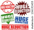 Set of huge reduction grunge rubber stamps, vector illustration - stock vector
