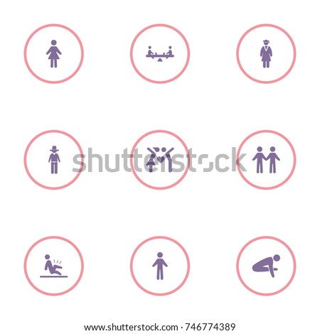 set of 9 human elements such as woman, cowboy, man doing yoga and other icons