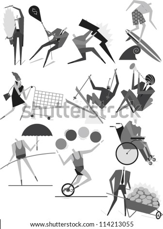 Set of human figures performing different activities - stock vector