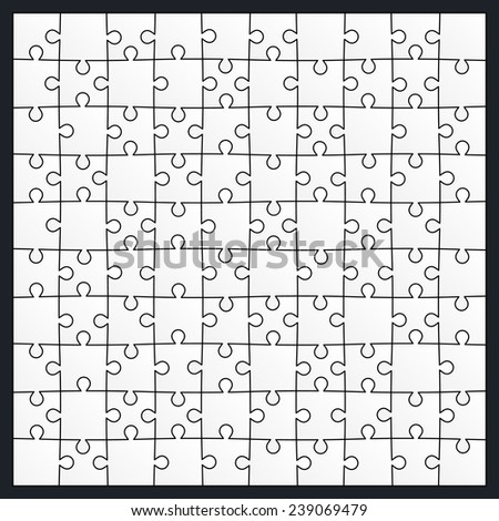 Set of hundred puzzle pieces. Vector illustration, eps 8. - stock vector