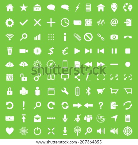 Set of hundred white flat web navigation and mobile icons - stock vector