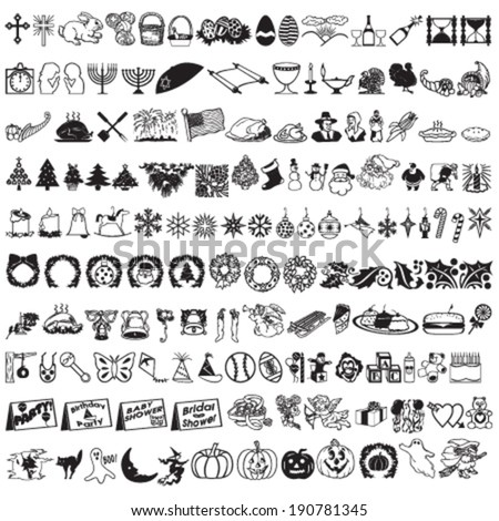 Set of Hundreds Holidays Vector Signs (Christmas, Eastern, Passover, Thanksgiving Day, Halloween, New Year, Marriage) - stock vector