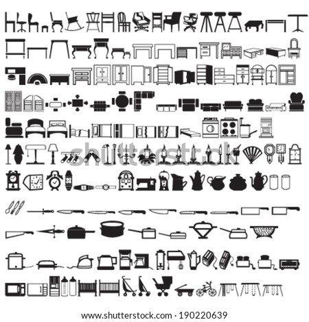 Set of 2 Hundreds Household (Tables, Beds, Kitchenware, etc.) Silhouettes - stock vector