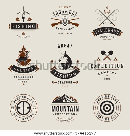 Set of Hunting and Fishing Labels, Badges, Logos Vector Design Elements Vintage Style. Deer Head, Hunter Weapons. Advertising Hunter Equipment. Fishing Logo, Deer Logo, Rifle Logo, Mountain Logo. - stock vector