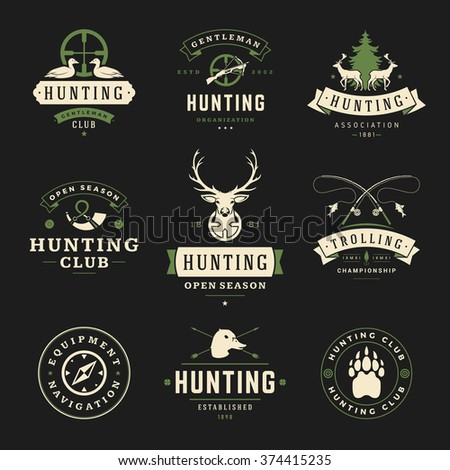 Set of Hunting and Fishing Labels, Badges, Logos Vector Design Elements Vintage Style. Deer Head, Hunter Weapons. Advertising Hunter Equipment. Fishing Logo, Deer Logo, Duck Logo, Camp Logo. - stock vector