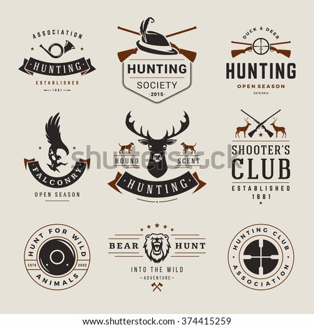 Set of Hunting and Fishing Labels, Badges, Logos Vector Design Elements Vintage Style. Deer Head, Hunter Weapons. Advertising Hunter Equipment. Eagle Logo, Deer Logo, Rifle Logo, Camp Logo. - stock vector