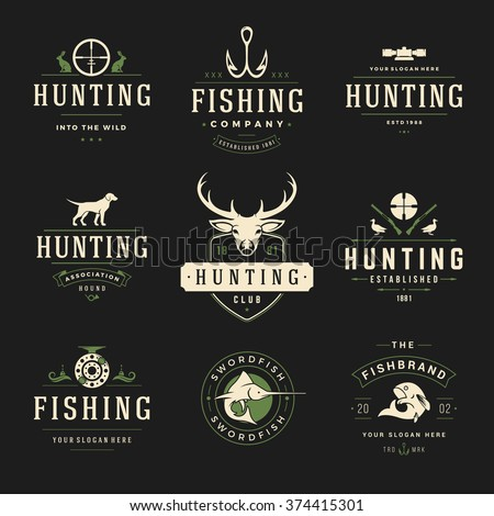 Set of Hunting and Fishing Labels, Badges, Logos Vector Design Elements Vintage Style. Deer Head, Hunter Weapons. Advertising Hunter Equipment. Fishing Logo, Deer Logo, Fish Logo, Dog Logo. - stock vector