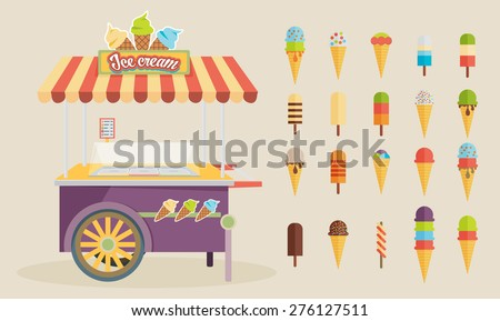 Set of ice-cream icons and ice-cream shopping cart. Flat style design. Vector illustration. - stock vector
