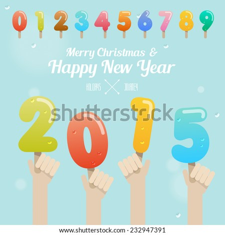 set of ice cream number with hand up on merry christmas and happy new year 2015 concept vector - stock vector