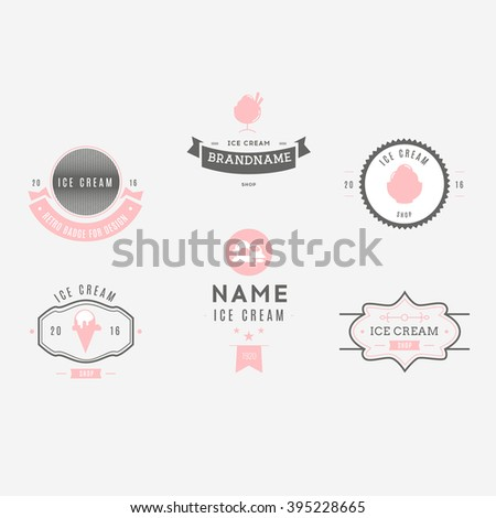 Set of ice-cream shop labels, logotypes and design elements. Vintage collection of different ice cream elements. Cold desserts and ice cream objects. Vector elements for design. Ice cream silhouettes. - stock vector