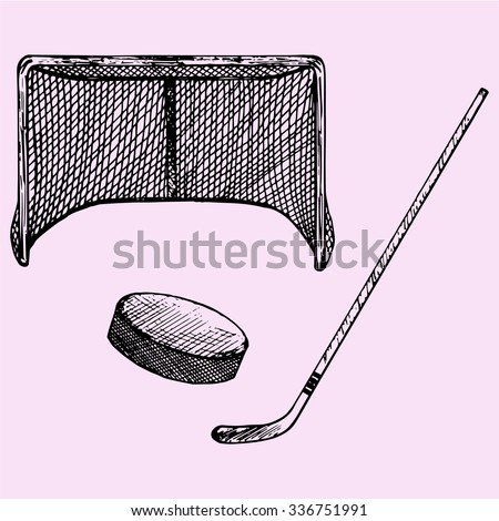 set of ice hockey elements: hockey stick, hockey goal and puck, doodle style, sketch illustration, hand drawn, vector - stock vector