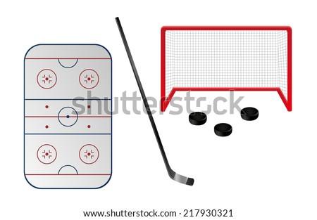 Set of ice hockey elements. There are hockey field, hockey-stick, hockey goal and pucks.  - stock vector