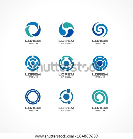Set of icon design elements. Abstract ideas for business company, finance, communication, technology, science and medical concepts.  Pictograms for corporate identity template.Vector Illustration - stock vector