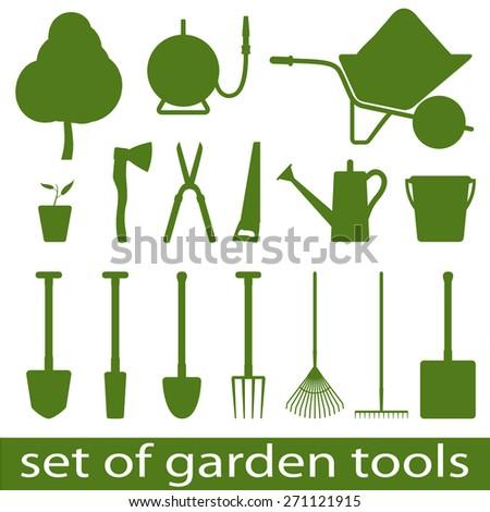 Set of icon garden tools. Vector illistration. - stock vector