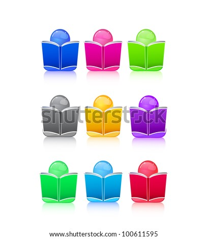 Set of Icon People with Colorful Book Sign. Vector Illustration - stock vector