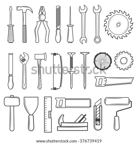 Set of icon tools line style for carpentry service, repair service, lumberjack, sawmill and woodwork isolated on white background. Vector illustration - stock vector