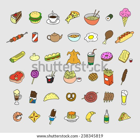Set of icons about food and drink. Doodle. Sketch.  - stock vector