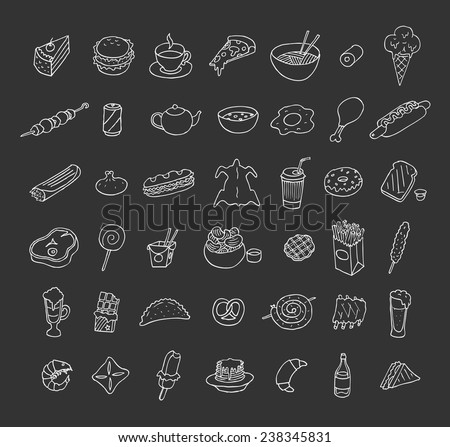 Set of icons about food and drink. Doodle. Sketch.