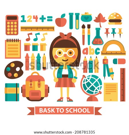 Set of icons and characters on a school theme. Flat design. Vector. - stock vector