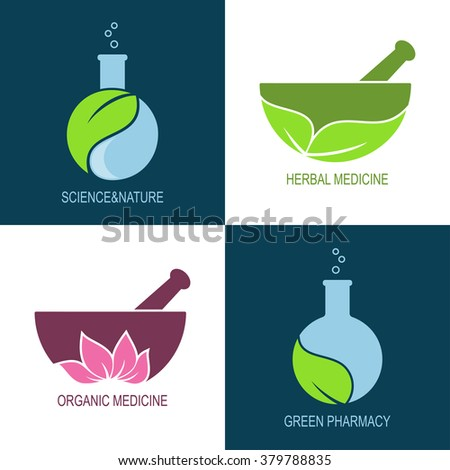 Set of icons and emblems for green pharmacy and herbal medicine