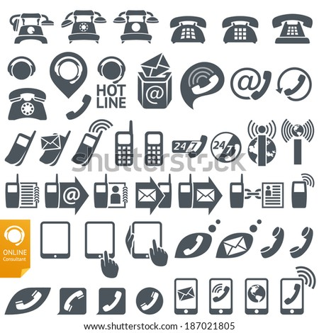 Set of Icons and Symbols on the subject of Communication, Internet and Telephony - stock vector