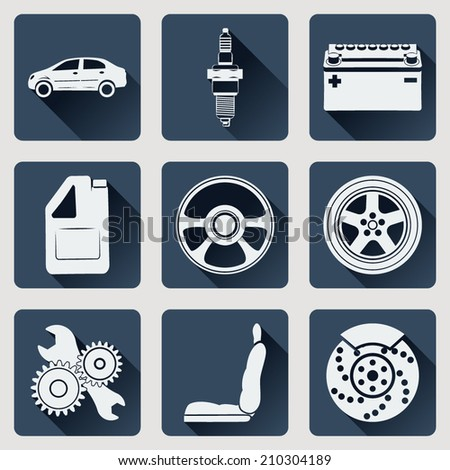 Set of icons auto parts. Flat design with long shadows. Vector illustration. - stock vector