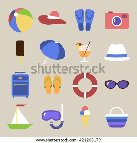 Set of icons. Beach theme. Flat travel objects. Umbrella, ball beach, wallet, cocktail, diving mask, tube, lifebuoy, ice cream, beach bag, collection. Vector illustration. Grouped for easy editing. - stock vector
