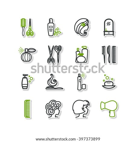 Set of icons - beauty, barbershop. A vector. - stock vector