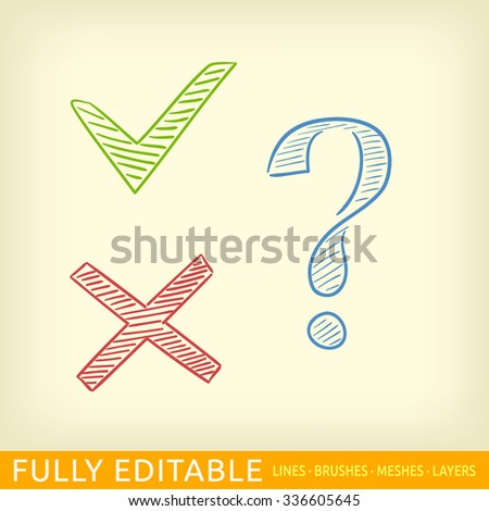 Set of icons. Check cross and question mark. - stock vector