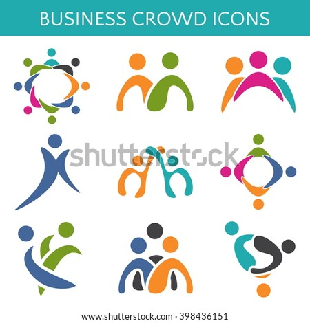 Set of icons crowd business relationship. Vector illustration