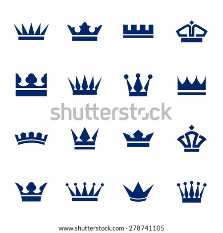 Set of icons  crowns isolated on  a white background - stock vector