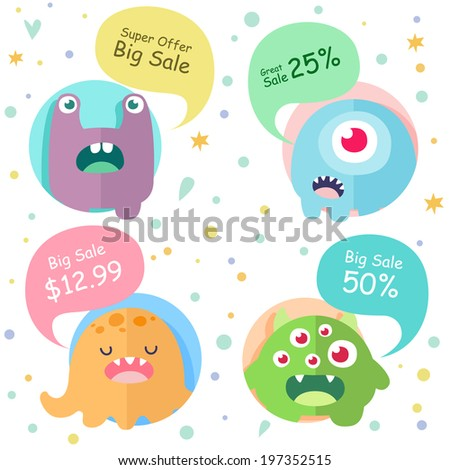 Set of icons, cute cartoon 4 monsters in circles with speech bubbles - Super Offer, Big Sale, Greate Sale - stock vector
