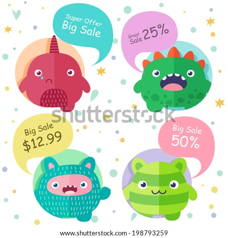 Set of icons, cute cartoon 4 monsters in circles with speech bubbles - Super Offer, Big Sale, Great Sale - stock vector
