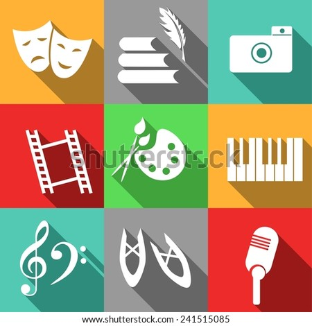 set of icons dedicated to arts. - stock vector