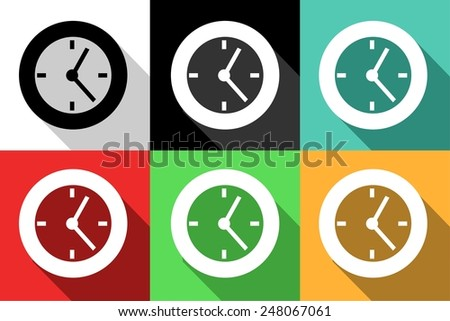 set of icons dedicated to clock .