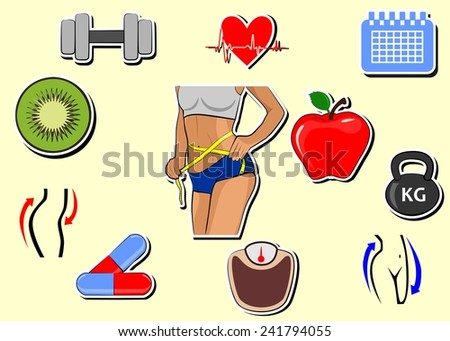 set of icons dedicated to diet and weight loss.  - stock vector